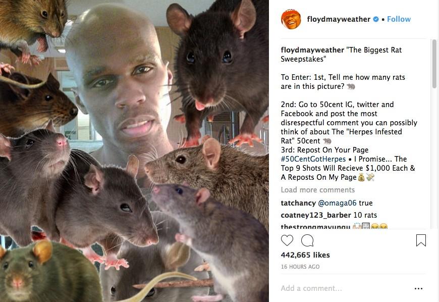 O post de Floyd Mayweather pedindo que seus fãs e seguidores xinguem 50 Cent nas redes sociais e concorram a prêmio de mil dólares (Foto: Instagram)