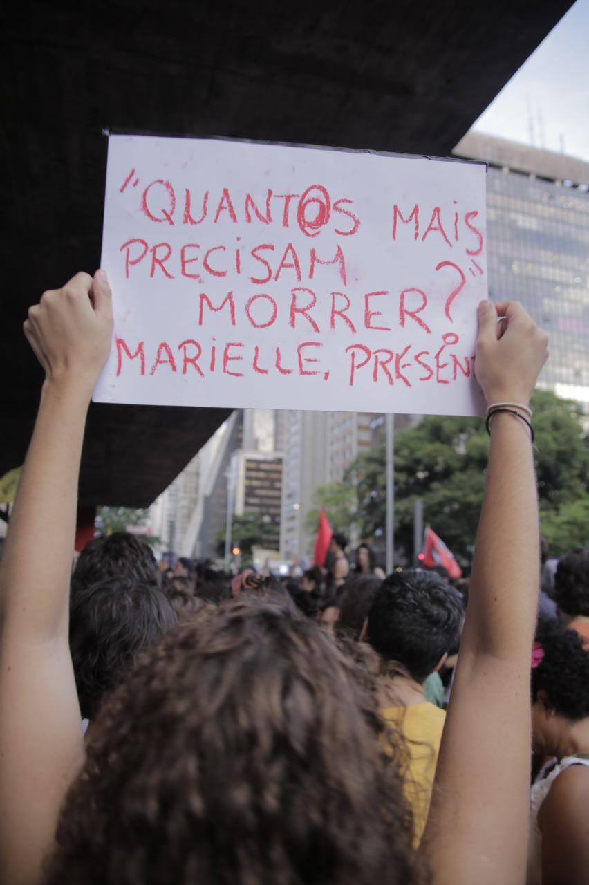 Cartaz exibido em manifestação na Avenida Paulista, em SP (Foto: Ricardo Toscani)