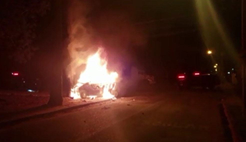 Após perseguição, carro bateu em uma árvore e pegou fogo — Foto: Guarda Municipal de São José dos Pinhais/Divulgação