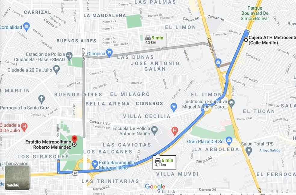 Distância do protesto para local do treino do Fluminense — Foto: Reprodução / Google Maps
