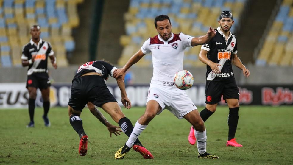 Clássico do último fim de semana, Fluminense e Vasco se enfrentaram com portões fechados — Foto: LUCAS MERÇON/ FLUMINENSE F.C.