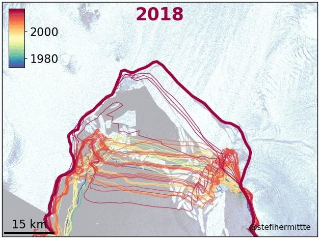Linhas vermelhas mostram o recuo da geleira (Foto: @StefLhermitte/Twitter)