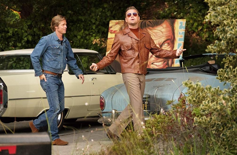 Brad Pitt e Leonardo DiCaprio em cena de 'Era uma vez em Hollywood' — Foto: Divulgação