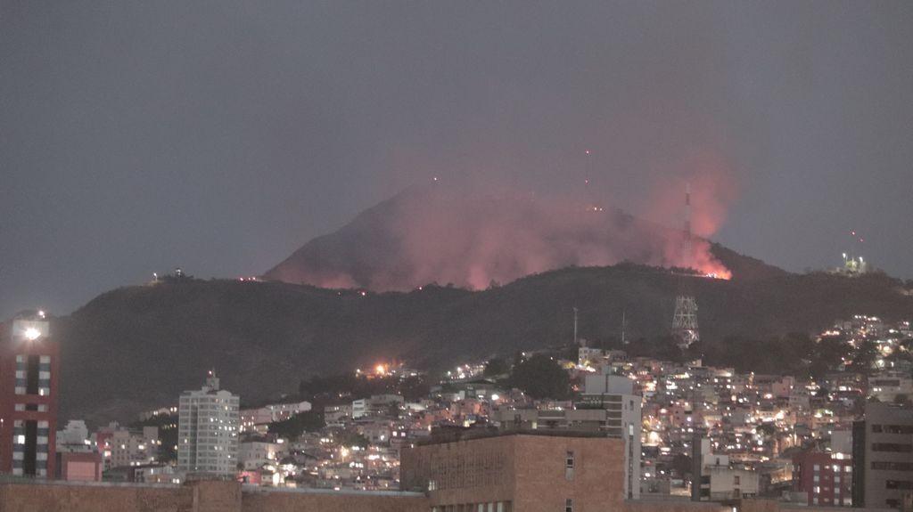 Incêndio de grandes proporções atinge vegetação e ameaça Parque das Mangabeiras, em BH