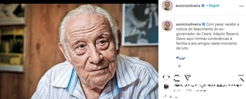 Eunício usou o Instagram para lamentar morte de Adauto Bezerra — Foto: Reprodução/Instagram