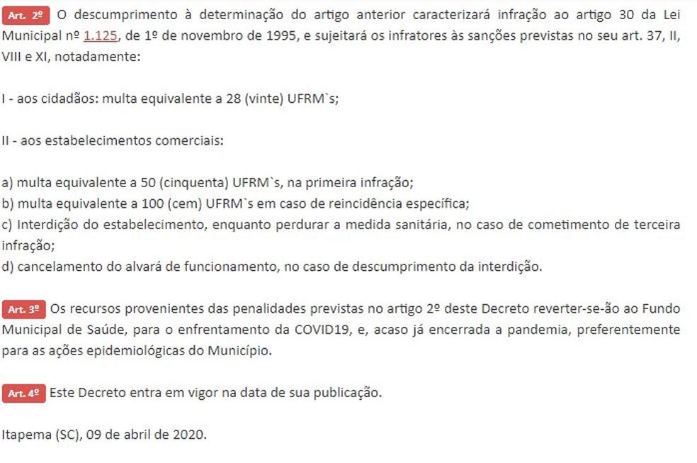 Publicação do decreto da prefeitura de Itapema — Foto: Reprodução