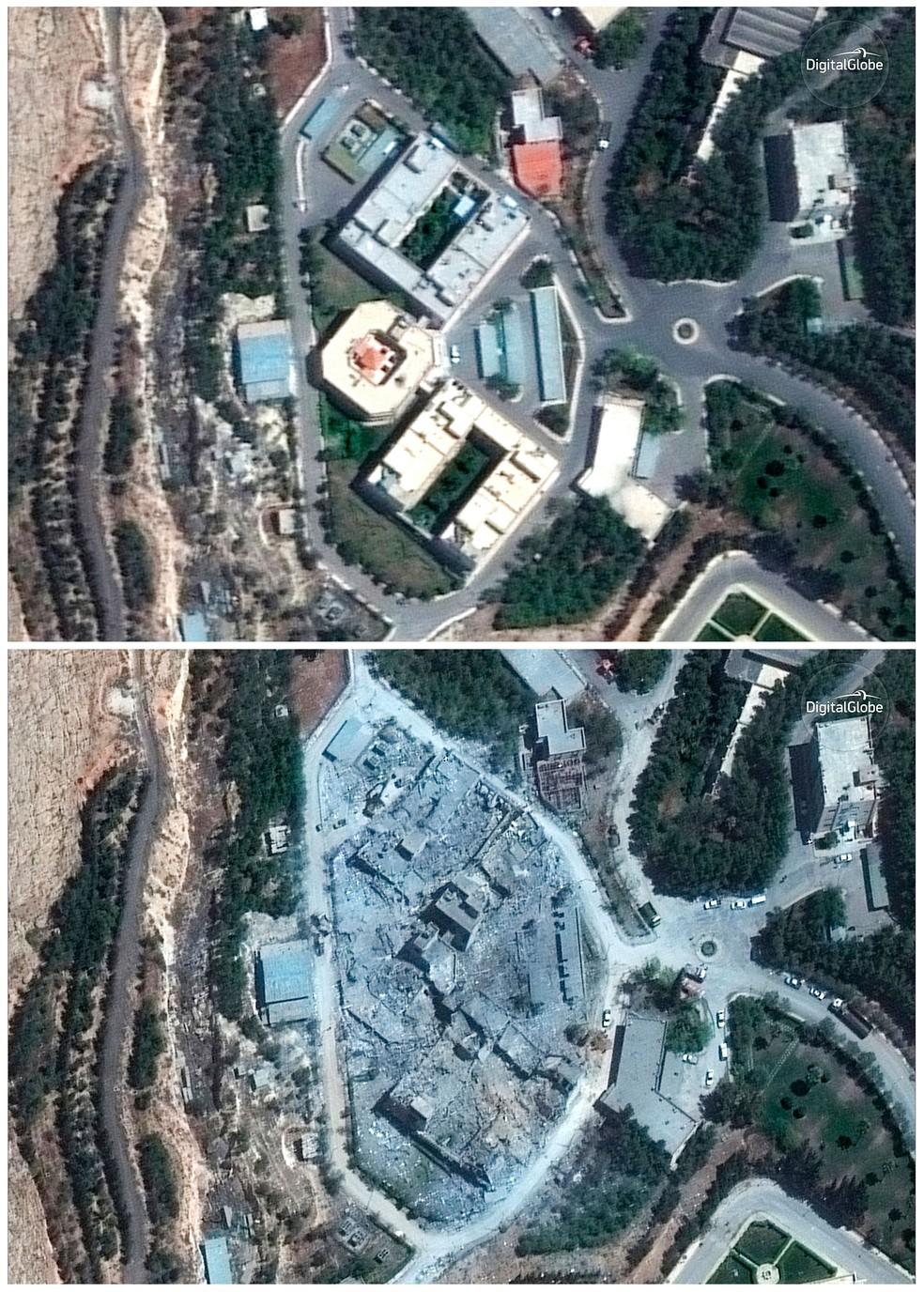 -  Imagens de satélite mostram o centro de Pesquisa e Desenvolvimento Barzah, na sexta-feira  13  e no sábado  15 , antes e depois de bombardeio dos EUA