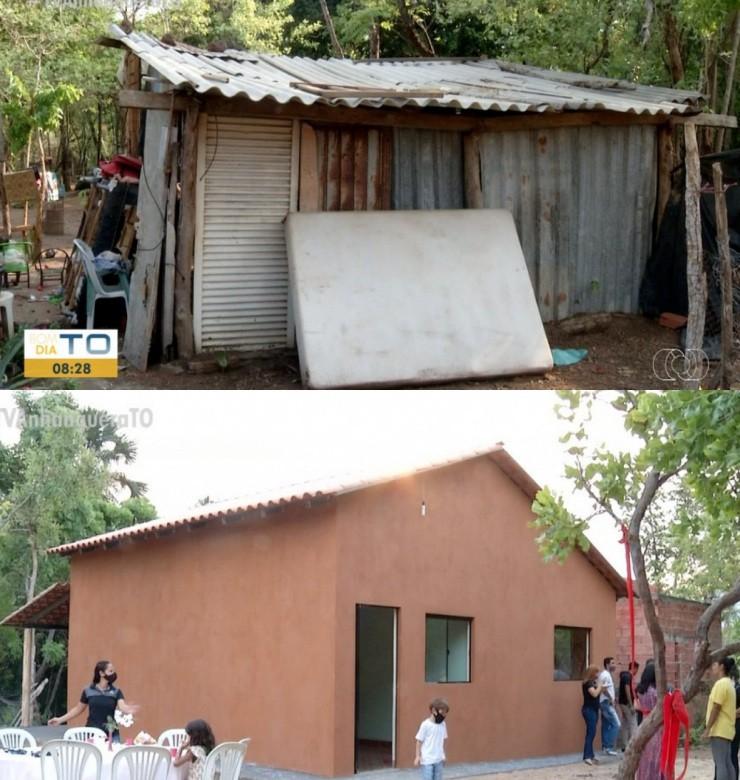 Casal que vivia com os 10 filhos em barracão improvisado ganha casa construída por voluntários; fotos