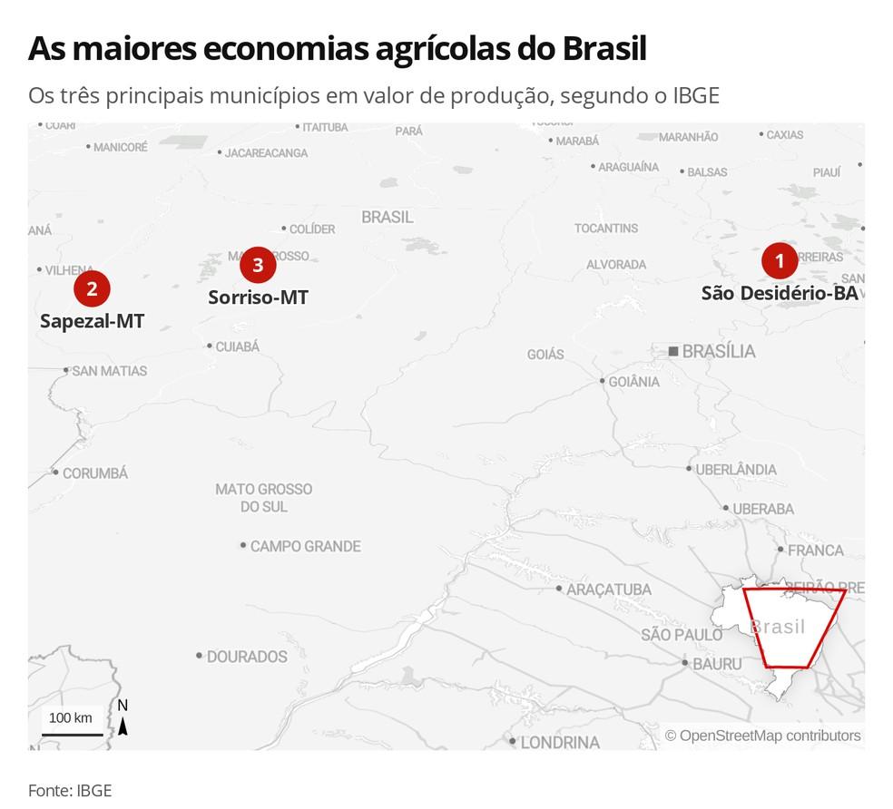 Localização dos principiais municípios produtores — Foto: Rikardy Tooge/G1