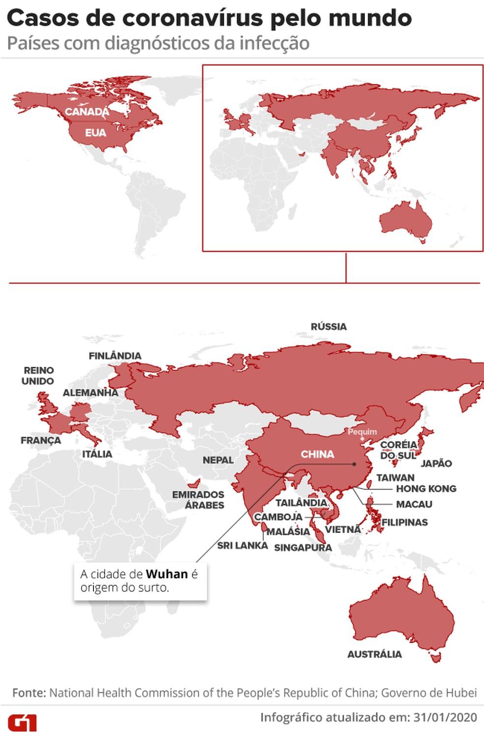 Casos de coronavírus pelo mundo – 31/01 – 10h30 — Foto: Arte G1