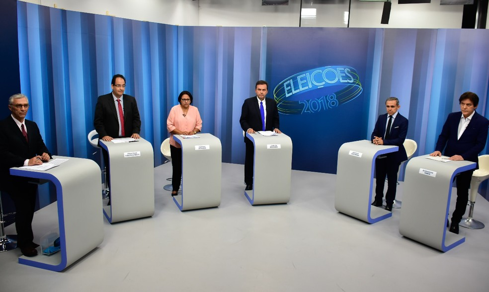 Cinco candidatos ao governo do RN participaram do debate na Inter TV Cabugi — Foto: Pedro Vitorino/G1