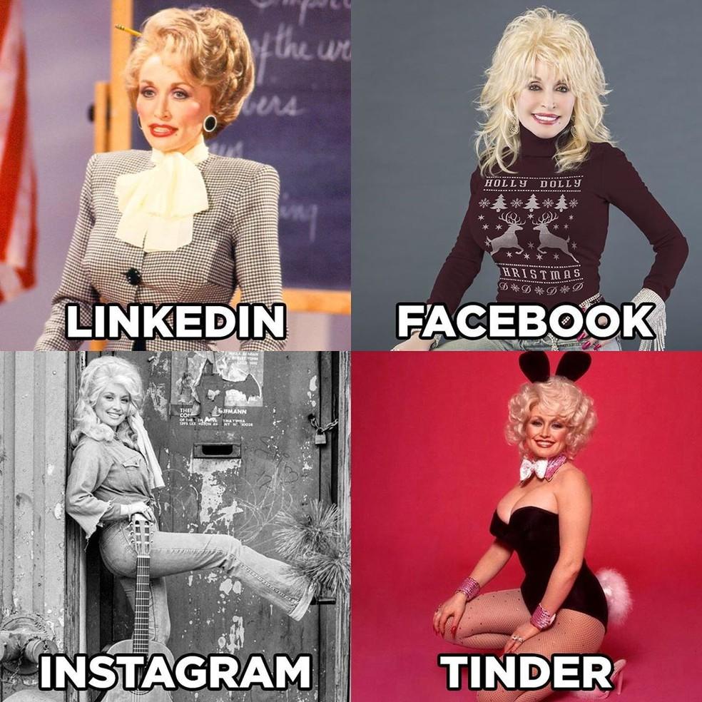 Dolly Parton foi uma das primeiras a postar mosaico com fotos de acordo com cada rede social — Foto: Reprodução/Instagram/Dolly Parton