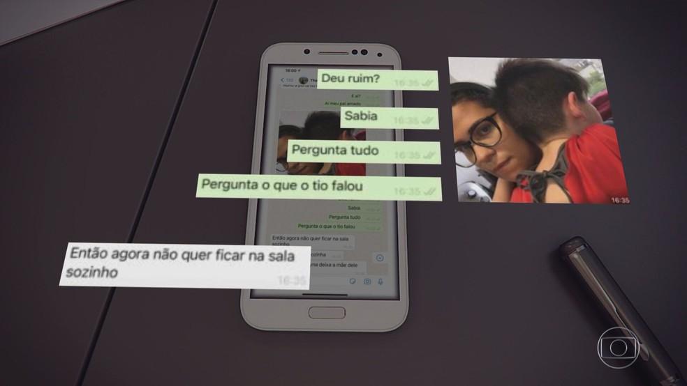 A babá Thayná Ferreira manda uma foto com o menino Henry no colo — Foto: Reprodução/Jornal Nacional