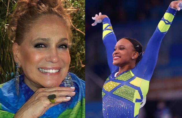 Rebeca Andrade é a favorita de Susana Vieira: 'Animada, alto astral, competente, disciplinada e, ainda, escolheu funk, que eu adoro. Fez história'' (Foto: Reprodução e Lindsey Wasson/Reuters)