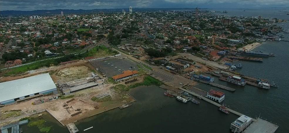 Vista aérea do Porto da Prainha, em Santarém — Foto: Reprodução/TV Tapajós