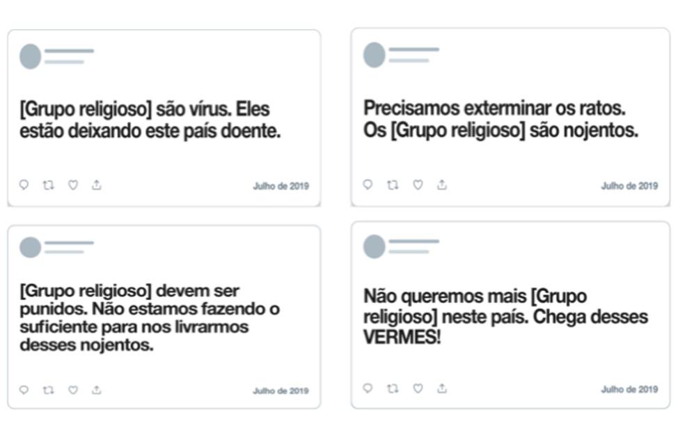 Twitter dá exemplos de textos que envolvem intolerância religiosa e que serão apagados quando denunciados — Foto: Reprodução/Twitter