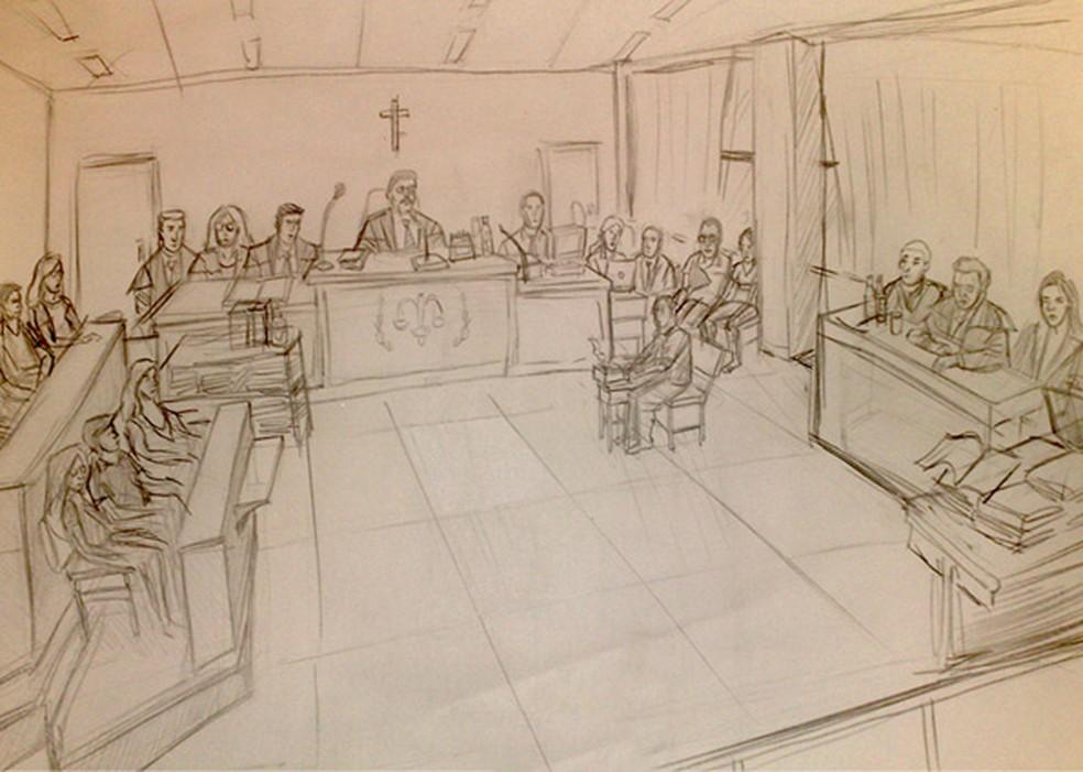 Plenário do Tribunal do Júri — Foto: Ilustração: Arte/G1