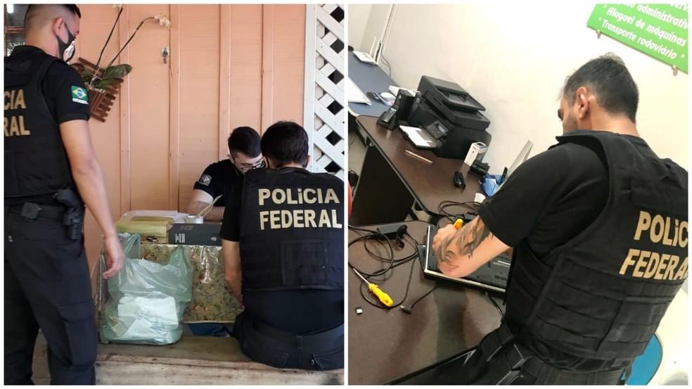 Agentes da Polícia Federal cumprem mandados de busca e apreensão em Novo Progresso e Itaituba, no Pará — Foto: Ascom PF/Divulgação