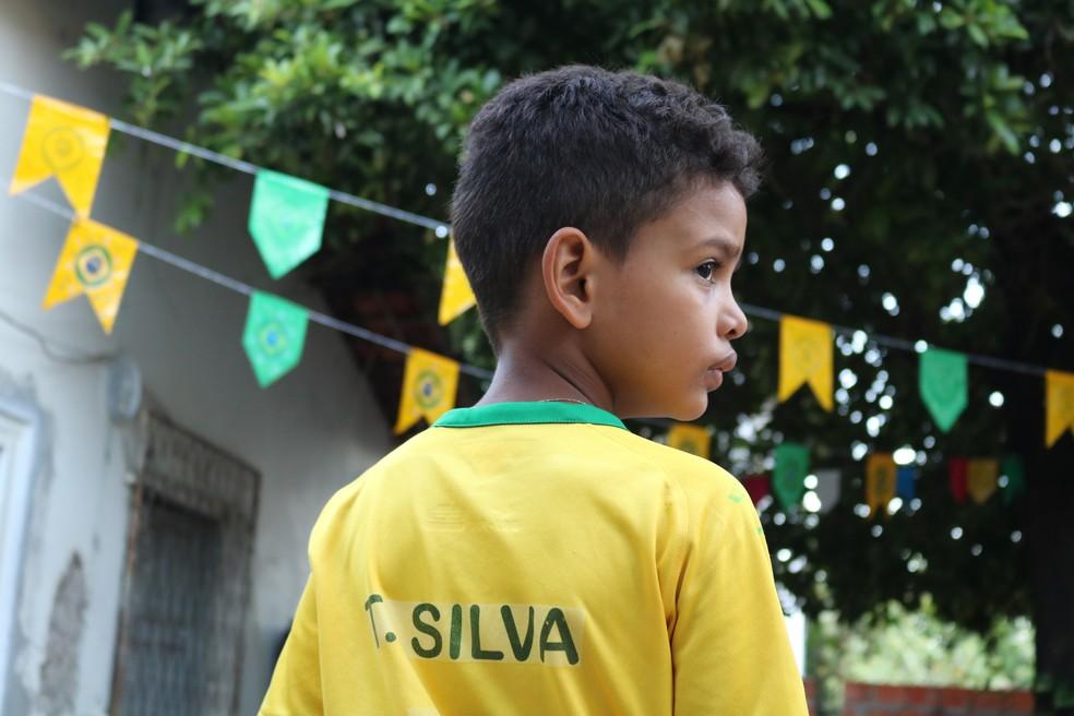 Lyan é sósia mirim do zagueiro da seleção brasileira, Thiago Silva (Foto: Foto: José Marcelo/G1)