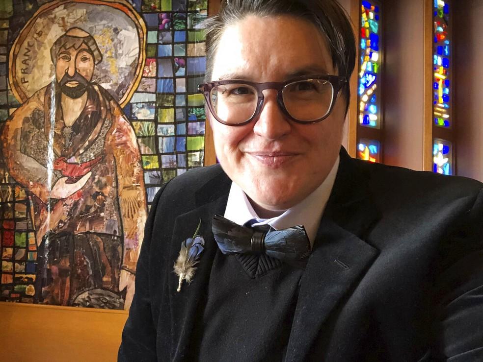 Foto de abril de 2018 mostra Megan Rohrer, reverendo da Igreja Luterana dos EUA eleito bispo — o 1º trans escolhido para o cargo — Foto: Meghan Rohrer via AP