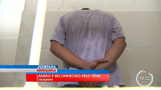 Tênis azul ajuda polícia a identificar suspeito de assaltar três padarias em Caçapava
