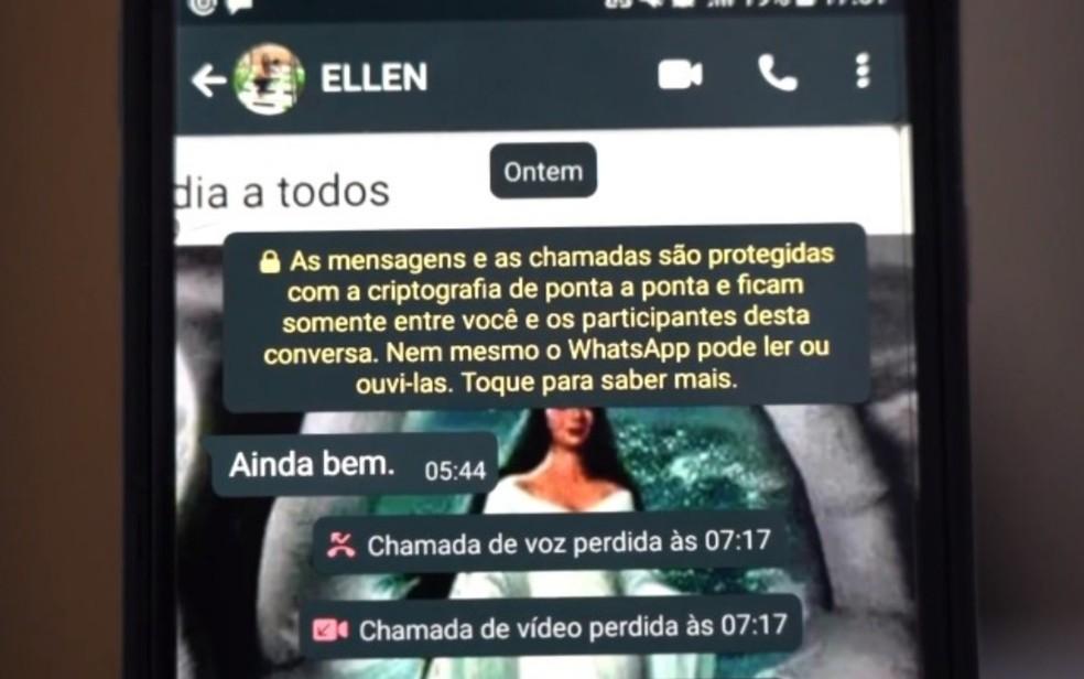 Lázaro teria passado a noite que  antecedeu trocando mensagens com Ellen — Foto: Reprodução/Fantástico