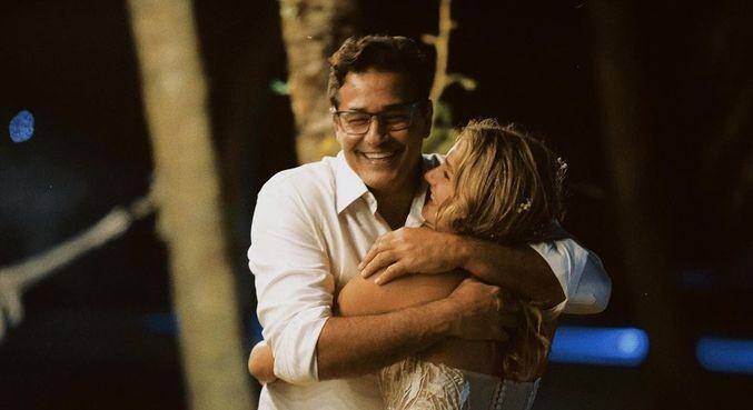 Sasha e o pai, Luciano Szafir, no casamento dela (Foto: Reprodução)