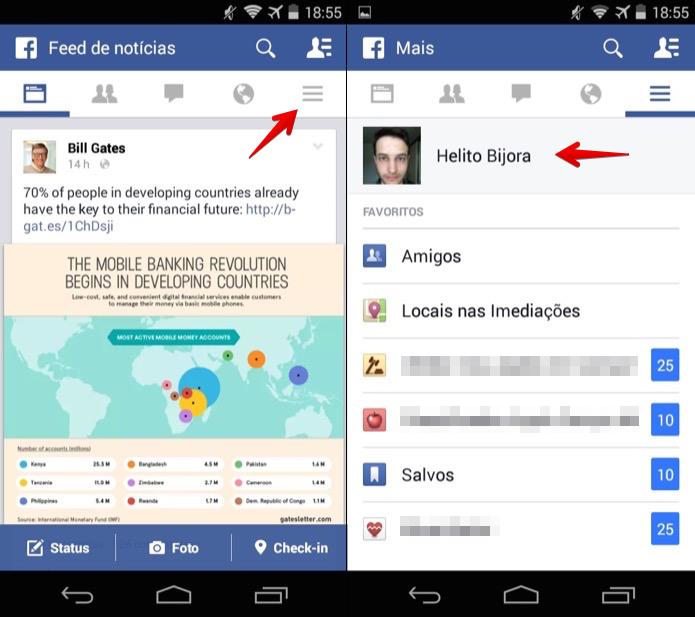 Abra o aplicativo do Facebook e acesse o seu perfil (Foto: Reprodução/Helito Bijora)