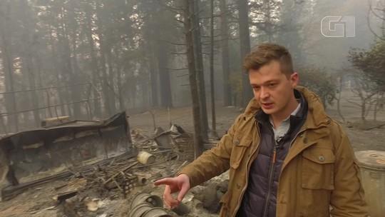 Portão, banheira, chaminé: o que sobrou de casa em cidade devastada pelo fogo na Califórnia