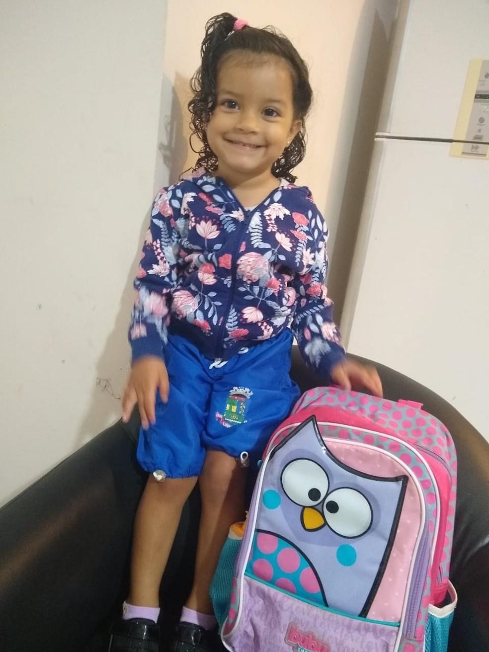 Elena de dois anos morreu após ser atropelada por ônibus em Linhares, Norte do ES — Foto: Reprodução