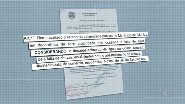 Prefeitura decreta estado de calamidade pública por falta de água, em Mariluz - Notícias - Plantão Diário