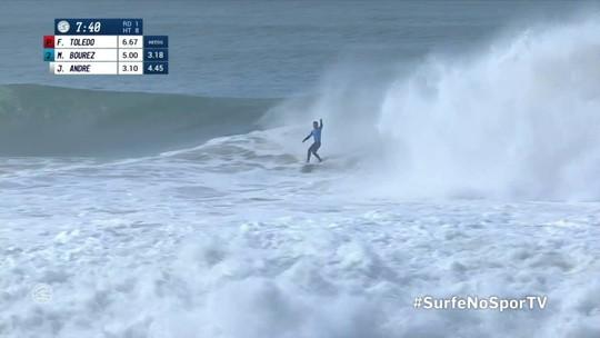 Michel Bourez pega semi tubo, trinca a prancha mas garante um 8.5 em Portugal