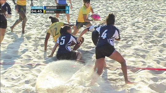 Melhores momentos: Uruguai 4 x 8 Brasil em desafio de rúgbi de praia feminino
