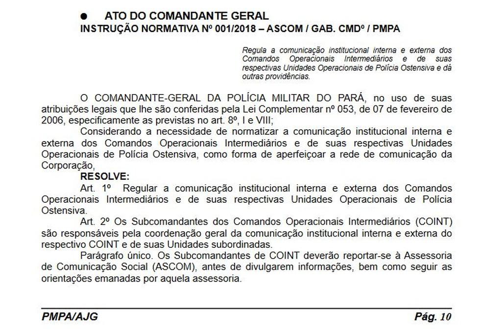 Norma que proíbe PMs de falar com a imprensa no Pará (Foto: Reprodução/G1)