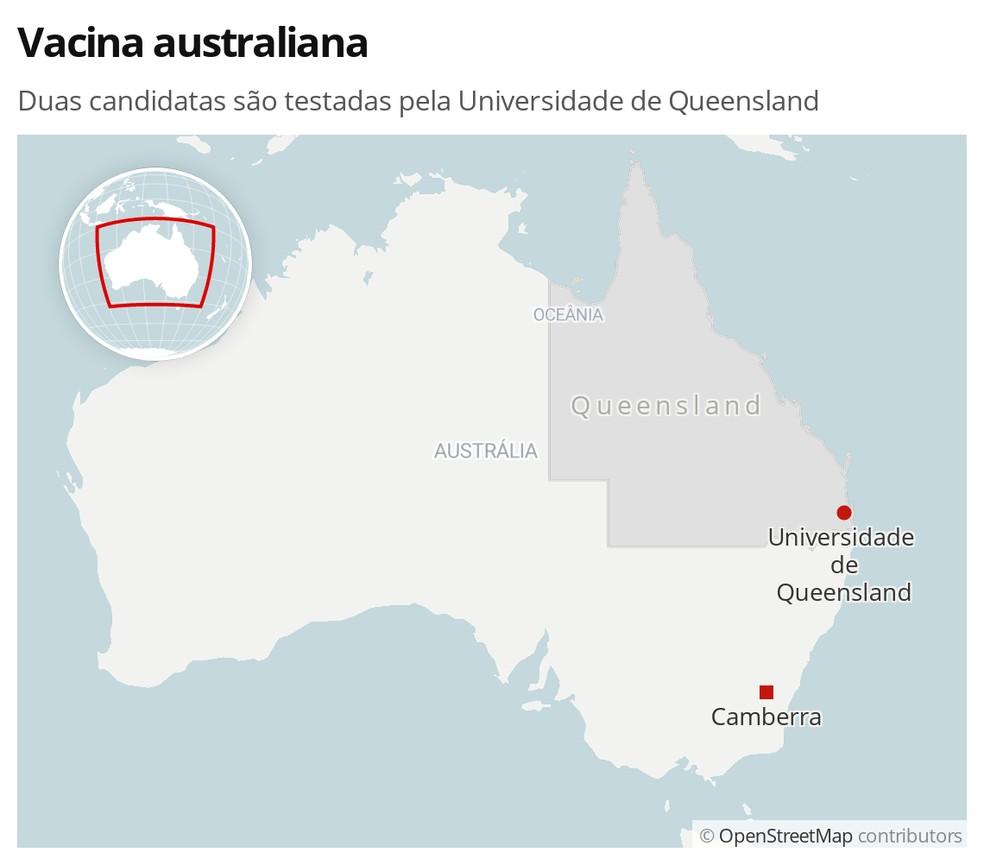 Universidade de Queensland, no nordeste da Austrália, tem duas vacinas para a Covid-19 em testes. — Foto: G1