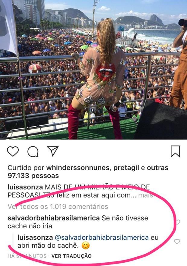 Luiza Sonza respondendo comentário no Instagram (Foto: Reprodução/Instagram)