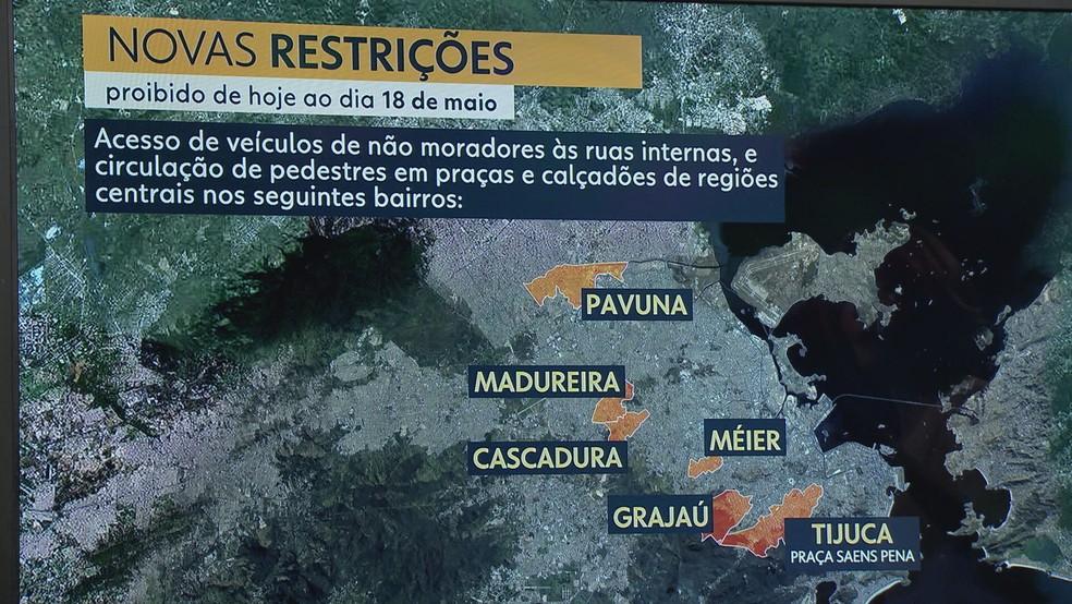 Bairros da Zona Norte com bloqueios — Foto: Reprodução/TV Globo