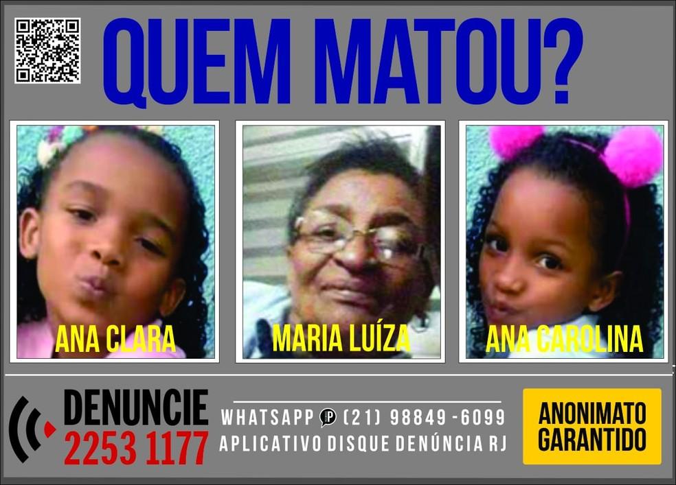 Cartaz do Disque Denúncia pediu informações sobre a morte de avó e duas netas — Foto: Divulgação/ Disque Denúncia