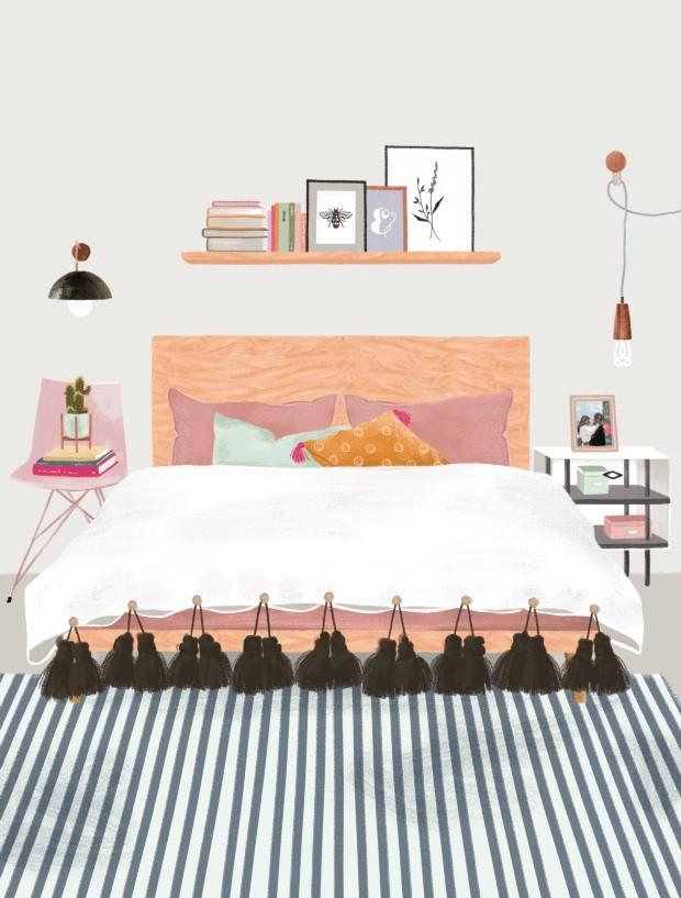 Ilustração de quarto (Foto: Ilustração Malena Flores / Editora Globo)