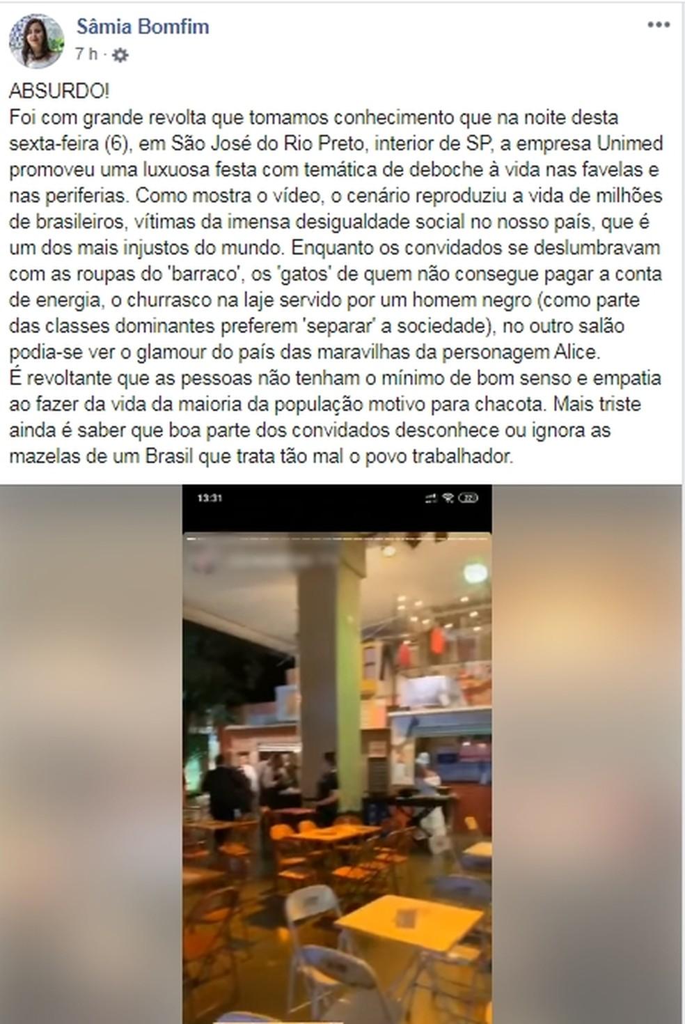 Deputada Sâmia Bomfim também se posicionou nas redes sociais  — Foto: Reprodução/Facebook