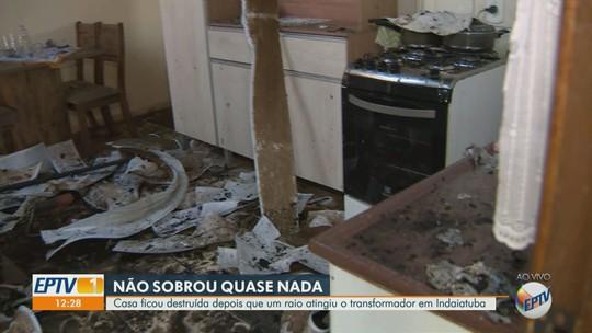Raio atinge casa em Indaiatuba e provoca incêndio