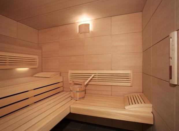 Sauna finlandesa de madeira (Foto: Air France/ Reprodução)