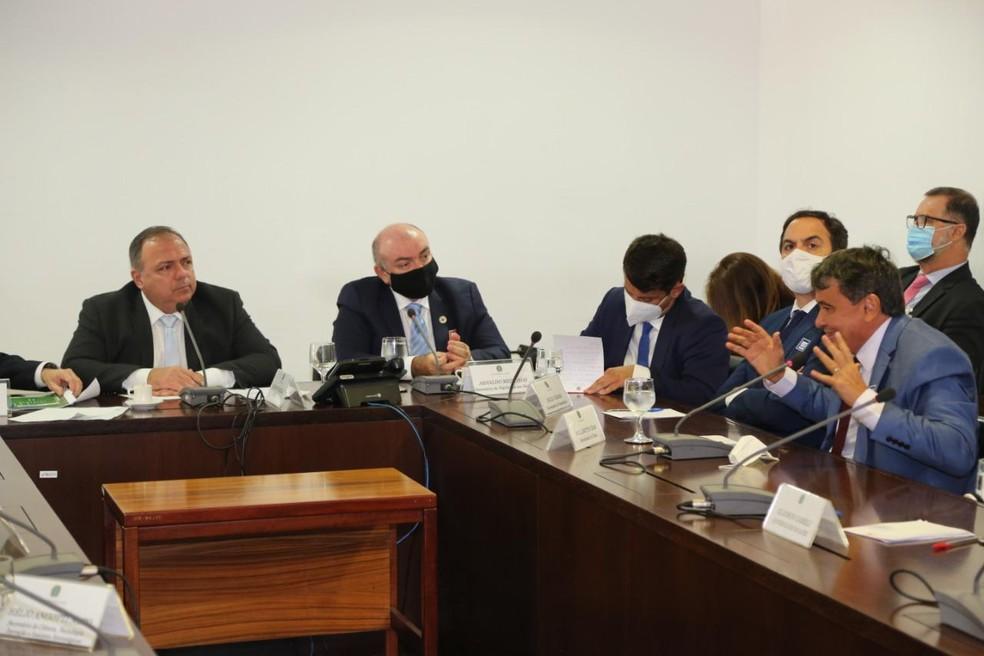 Reunião aconteceu entre o ministro Pazuello e os governadores em Brasília (DF) — Foto: Divulgação /Governo do Piauí