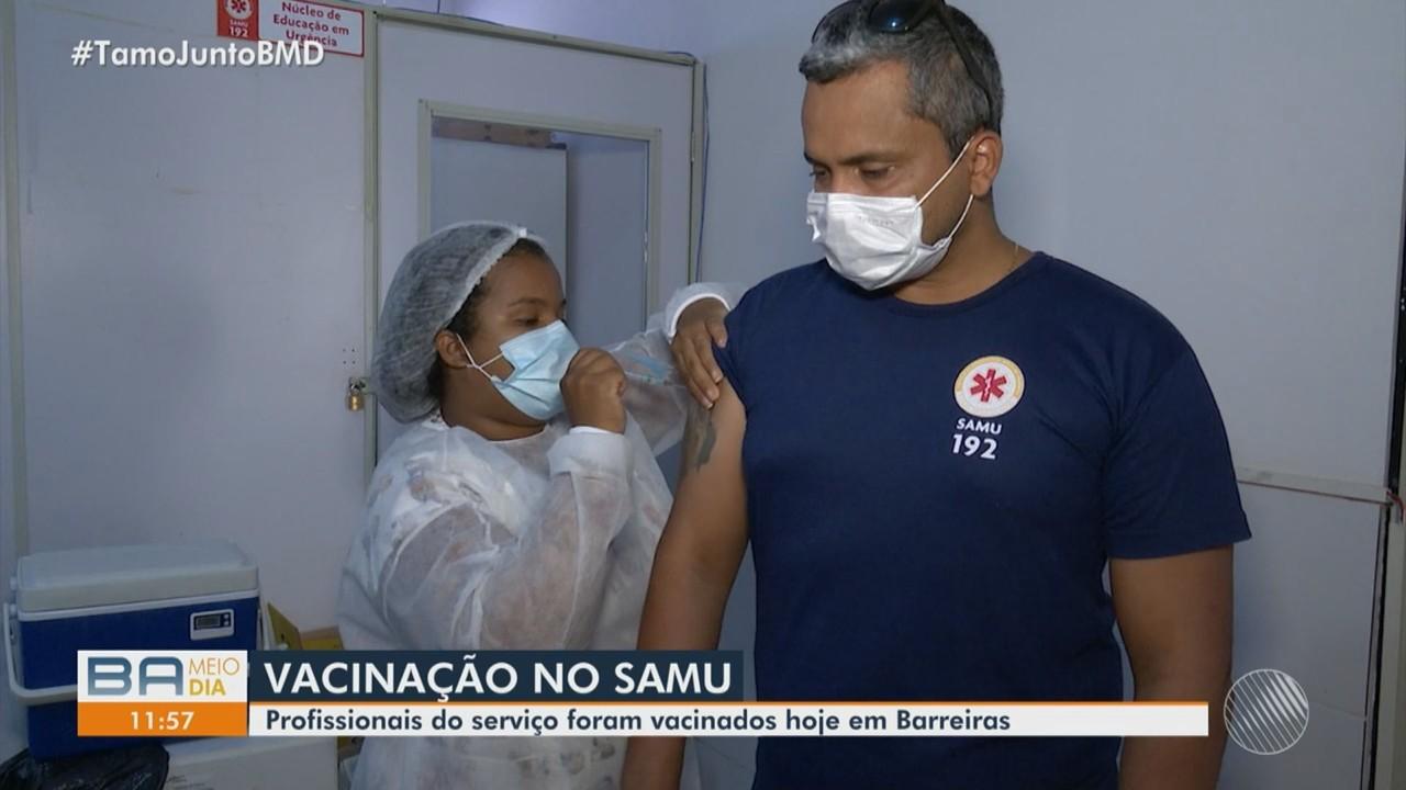 Vacinação de profissionais do Samu acontece em Barreiras, norte da Bahia