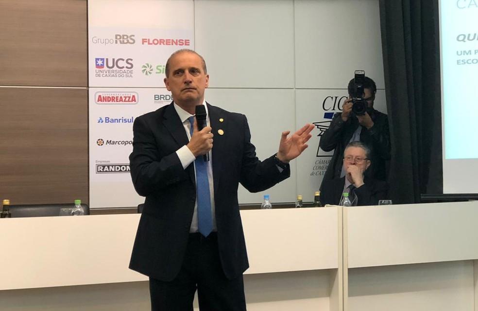 Onyx Lorenzoni falou a empresários na CIC de Caxias do Sul — Foto: Greici Matos