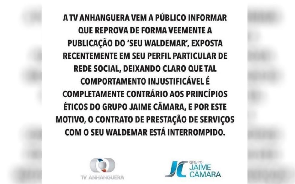 TV Anhanguera cancela contrato com Seu Waldemar — Foto: Reprodução/TV Anhanguera