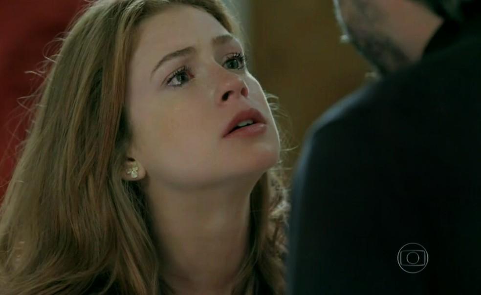 Maria Isis (Marina Ruy Barbosa) perde perdão a José Alfredo (Alexandre Nero) por ter mentido sobre sua família - 'Império' — Foto: Globo