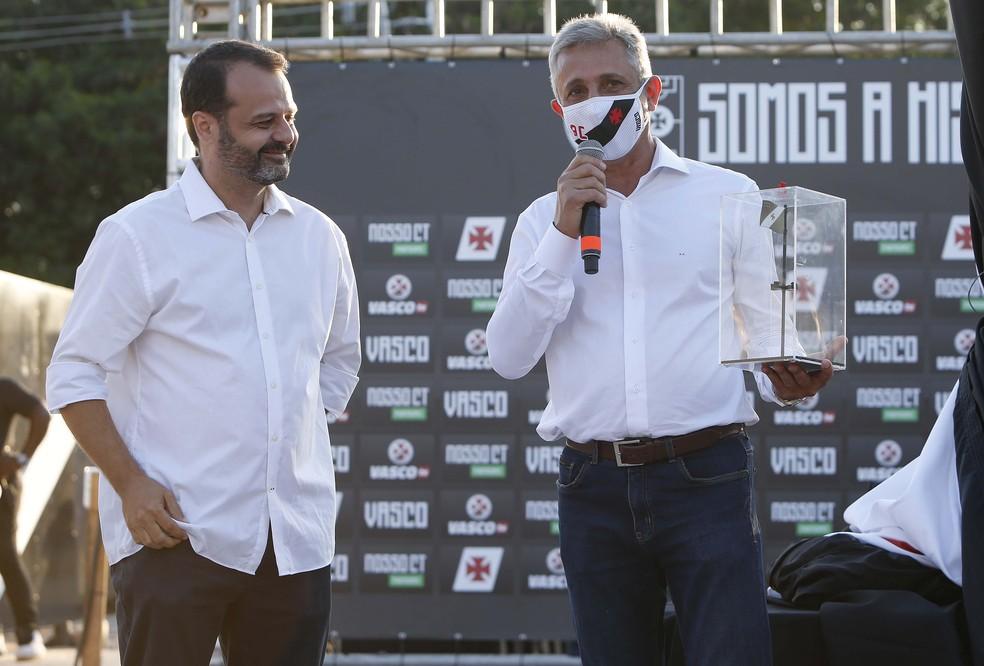 Presidente Campello abriu o evento no Nosso CT — Foto: Rafael Ribeiro / Vasco