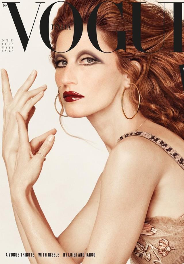 Gisele Bündchen na capa da Vogue Itália de outubro (Foto: Divulgação)