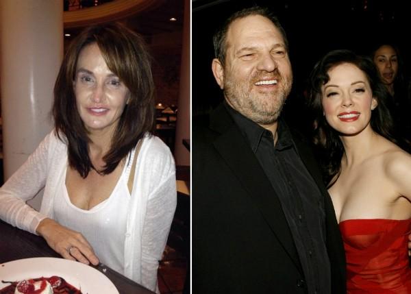 A empresária Jill Messick, o produtor Harvey Weinstein e a atriz Rose McGowan (Foto: Reprodução/Getty Images)